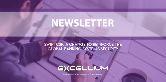 "A purple banner displaying the title of this newsletter:""SWIFT CSP A change to reinforce the global banking system's security"""