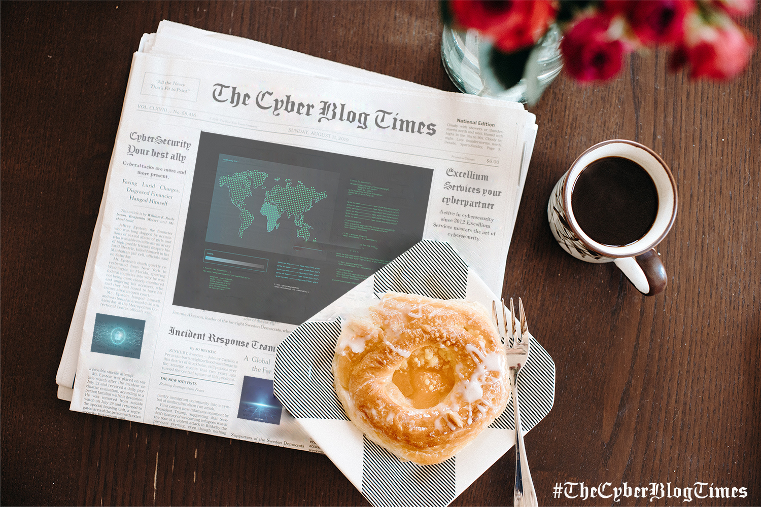 The Cyber Blog Times newspaper displayed on a table with a cup of coffee